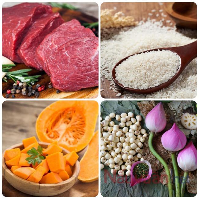 nguyên liệu cần thiết nấu cháo thịt bò hạt sen