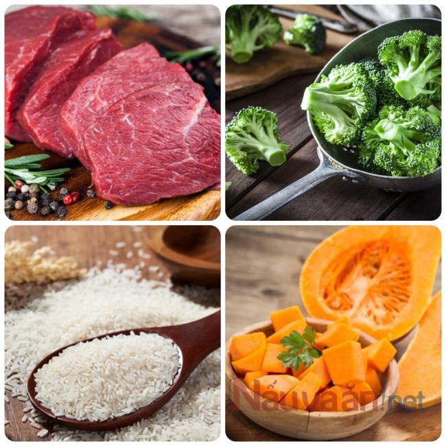nguyên liệu cần thiết nấu cháo rau ngót bí ngô