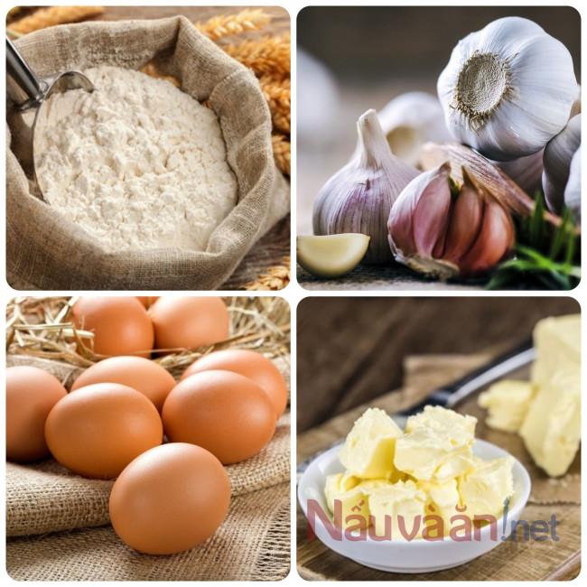 nguyên liệu cần thiết làm bánh mì bơ tỏi
