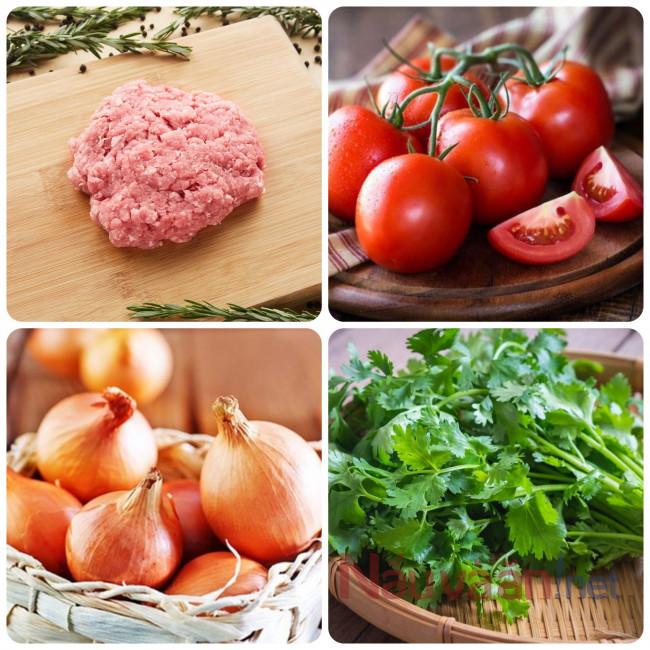 nguyên liệu làm món thịt viên xíu mại sốt cà chua