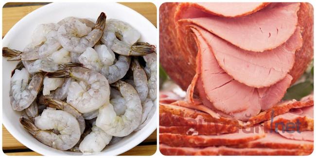 sơ chế tôm, thịt xông khói