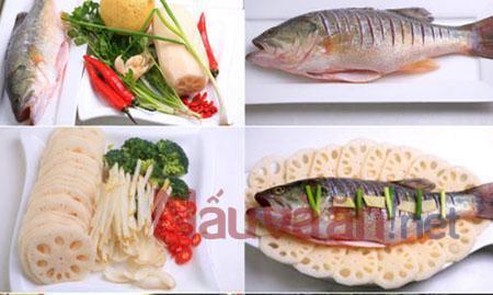 nguyên liệu làm cá hấp củ sen