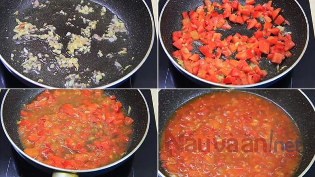 phi thơm hành rồi xào cà chua