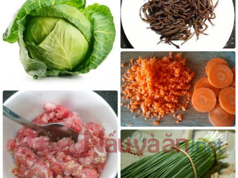 Nguyên liệu làm bắp cải cuộn thịt băm