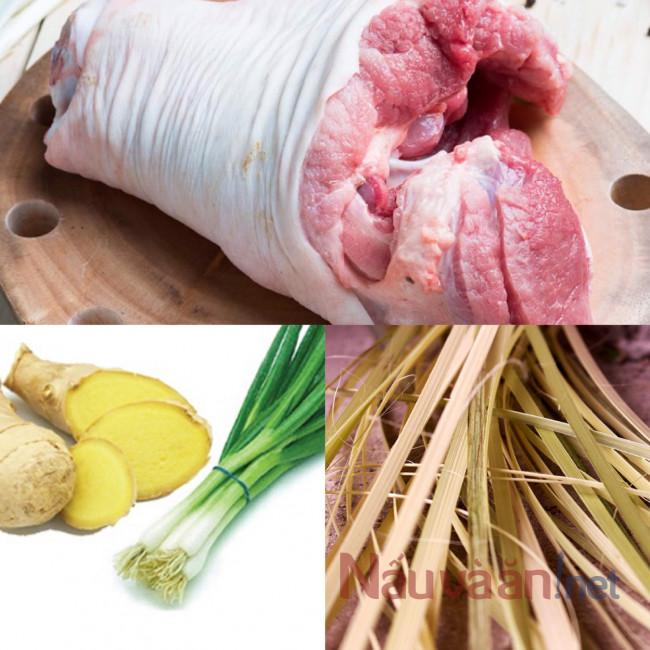 Nguyên liệu làm thịt chân giò luộc