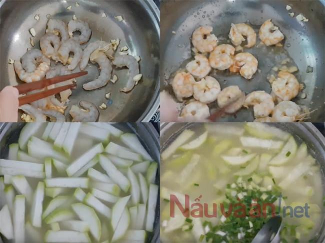 Cách làm cnah bầu nấu tôm