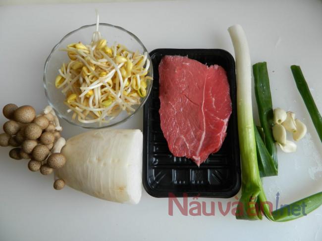 nguyên liệu nấu canh bò cay