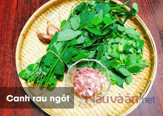 nguyên liệu nấu canh rau ngót tôm thịt