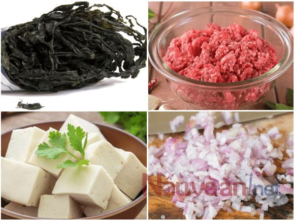 nguyên liệu nấu canh rong biển thịt băm