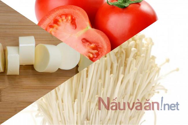 nguyên liệu nấu súp nấm cà chua