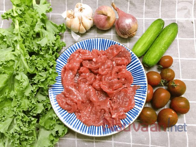 nguyên liệu làm salad thịt bò